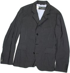 DOLCE & GABBANA BLACK WITH SILVER STRIPE MEN'S JACKET-48/38-MADE IN ITALY #DOLCEGABBANA #FIVEBUTTONFRONT