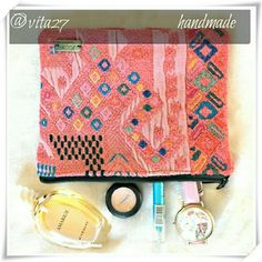 """Handmade makeup bag, pouch, clutch, purse. Recycled textile make up bag. Each bag is handmade in Guatemala with care, dedicated skill and is one of a kind! Very nice rich color and texture.  Details: 8"""" x 6"""", recycled textile, feels like cotton blend, lining 100% polyester, handmade in Guatemala.  Please use only ✔OFFER  button for all price negotiations. I'll do a price drop⤵ for you for discounted shipping, if we agree about the price. Ketzali Bags Cosmetic Bags & Cases"""