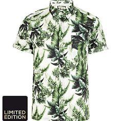 Green leaf print short sleeve shirt - printed shirts - shirts - men