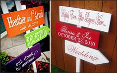 I am in love with these wedding signs... point your guests in the right direction!