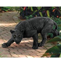 "Your summer jungle garden will be labeled a dangerous exotic getaway when this sleek panther statue steps out to ""greet"" your visitors! The heart of African wildlife is captured in our more than two-foot-long, garden predator Black Panther sculpture. Animal Statues, Animal Sculptures, Lion Sculpture, Resin Sculpture, Garden Sculptures, Sculpture Ideas, Black Panther Statue, Wild Panther, Garden Statues For Sale"