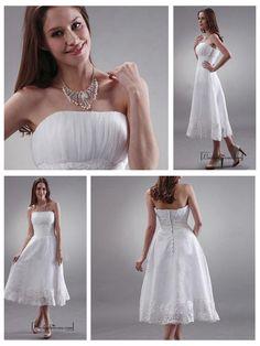BEAUTIFUL ORGANZA & LACE A-LINE STRAPLESS EMPIRE WAIST TEA LENGTH WEDDING DRESS