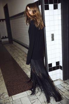 Le Fashion Blogger Style Wavy Hair Long Black Fringed Hem Celine Dress Via Maja Wyh