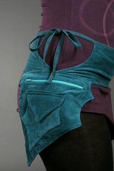 teal leaf - PIXIE belt fairy belt ELF belt Pocket BELT Waist belt Hip pouch psy trance belt fanny pack