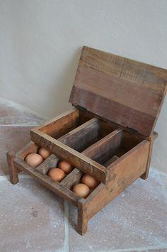 French Vintage Wooden Egg Tray Egg Storage by catherinelovevintage