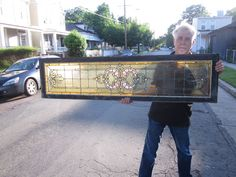 *c.1910 Antique Stained Glass Transom Window, 9 Jewels, with no cracks or breaks   Too big and wrong colors but gorgeous.
