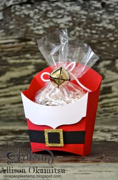 : Santa Fry Boxes by Canadian Stampin' Up!: Santa Fry Boxes by Canadian Stampin' Up! Christmas Paper Crafts, Stampin Up Christmas, Christmas Goodies, Christmas Treats, Christmas Projects, All Things Christmas, Christmas Holidays, Christmas Cards, Christmas Boxes