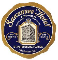 Suwannee Hotel St. Petersburg Florida hotel luggage Label