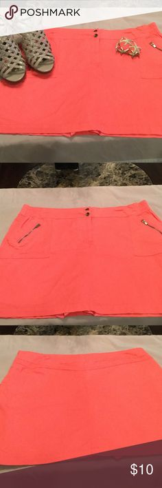 Pretty coral skorts, size 16 Super cute coral colored skorts, worn once.  Stretchy.  Comfy, comfy! Coral Bay Skirts