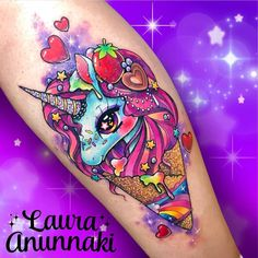 Sweet as and unicorn ice cream for Esme🦄🌈💕. Thank you very much for always ask me to do unicorn tattoos 😊🙏 I really… Weird Tattoos, Top Tattoos, Girly Tattoos, Badass Tattoos, Pretty Tattoos, Disney Tattoos, Unique Tattoos, Beautiful Tattoos, Body Art Tattoos