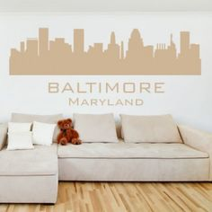Baltimore Maryland with Name America City Scape Wall Stickers Art Decal - City Skylines - America USA - People & Places