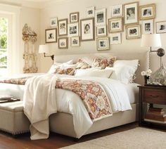 Add a personal touch to the space above your bed - create a beautiful family photo wall. The linear arrangement of these lovely custom framed photos are especially interesting; they look as if they fill up the entire width of the wall! Another interesting aspect of this wonderful photo gallery wall is the difference in styles of the frames used... From traditional to contemporary, they work so well together because they all feature silver finishes and white mats. Fantastic!
