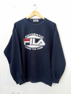 268b1ae653d Vintage 90's FILA Dark Blue Sweatshirt with BIgl Logo Spell Out Embroidered Sweater  Jumper Pullover Swag Streetwear Adult size L/LL VSS45