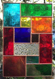 Multi Coloured Copper Abstract Stained Glass Suncatcher Art Panel Handmade - designsinglass - CRhodesGlassArt