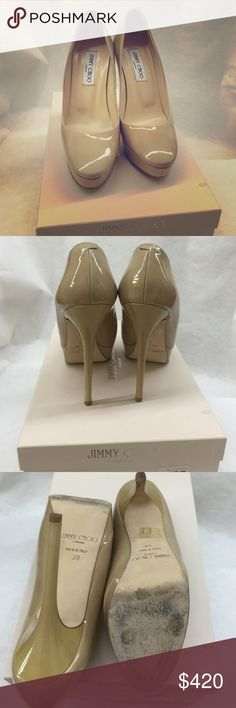 "Jimmy Choo London patent leather nude platforms Jimmy Choo London patent pumps leather nude platforms purchased at shaks fifth avenue Beverly Hills California worn 3 times measures about 5"" heels Jimmy Choo Shoes Platforms"