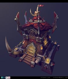 Warcraft Orc Fort , Anthony Trujillo on ArtStation at https://www.artstation.com/artwork/50O8E