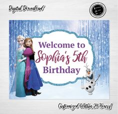 FROZEN Party Sign, Frozen Birthday Sign, FROZEN, Frozen Party,Frozen Door Sign, Frozen Digital Download, Princess Elsa Sign, Olaf by ThistlePartyDesigns on Etsy Toy Story Cake Toppers, Toy Story Cakes, Toy Story Food, Toy Story Party, Frozen Birthday Sign, Girl Birthday, Frozen Party, Frozen Frozen, Party Signs