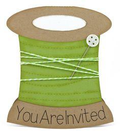 Spool of Thread Shaped Card Invitation