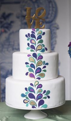 wedding cake - abstract peacock, retro love