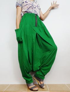 Glass Green In Drop crotch with Zipper long trouser,Unisex harem baggy unique pants,Cotton blend (Drop Zip-6). by Brightfashion on Etsy