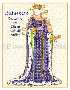 Queen Guinevere Paper Doll от PaperDollsbyERMiller на Etsy