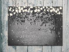 Digital - Printable Files - Romantic Garden and Night Light Wedding Save the Date Card - Wedding Stationery - ID210 via Etsy