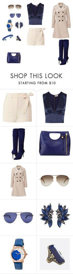 """""""Blue Paige"""" by jana-jeena ❤ liked on Polyvore featuring Helmut Lang, L'Agence, Stuart Weitzman, Kate Spade, Gucci, Persol, Bertha and Avenue"""