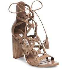 Steve Madden Women's Tarrra Sandals ($140) ❤ liked on Polyvore featuring shoes, sandals, camel leather, steve madden sandals, block heel sandals, woven leather sandals, gladiator sandals and laced up gladiator sandals