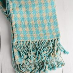 Twill Houndstooth Cotton Throw Blanket in Turquoise and Vanilla.