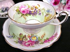 FOLEY-TEA-CUP-AND-SAUCER-FLORAL-PATTERN-TEACUP-PALE-GREEN-BANDS-TEACUP
