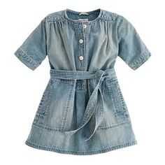 Girls' denim henley dress