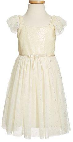 Popatu Sequin Bodice Tulle Dress (Toddler Girls, Little Girls & Big Girls)