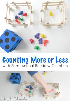More or Less with Farm Animal Rainbow Counters Counting objects and Comparing More or Less is an important math skill for preschoolers to learn. Using these fun Farm Animal Rainbow Counters will fit into any farm theme! can refer to: Farm Activities, Preschool Themes, Preschool Lessons, Farm Animals Preschool, Farm Games, Animal Activities, Animal Games, Farm Lessons, Farm Unit