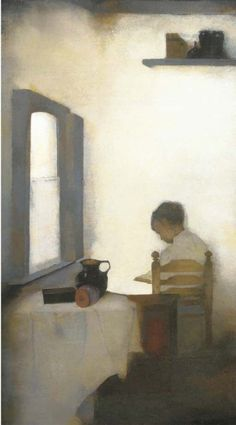 Jan Mankes (NL 1889-1920)  Reading boy in interior (1911) oil on canvas 41 x 24 cm