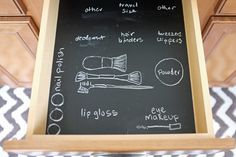 Tip of the Day: Paint the inside of a drawer with chalkboard paint and draw on labels to help you organize the inside. Slip a clear tray on top to keep the chalk from smudging.