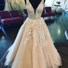 Lace Applique VNeck Long Prom Dress,Champagne Sleeveless Tulle Formal Evening Dress inch ( height is from your top head to your Nude Prom Dresses, Princess Prom Dresses, Pretty Prom Dresses, Open Back Prom Dresses, V Neck Prom Dresses, Beaded Prom Dress, Cheap Prom Dresses, Quinceanera Dresses, Ball Dresses