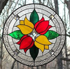 Patti Fairbrother   Stained glass red and yellow tulipsI love this pattern. The Glass Pineapple....see her on Facebook