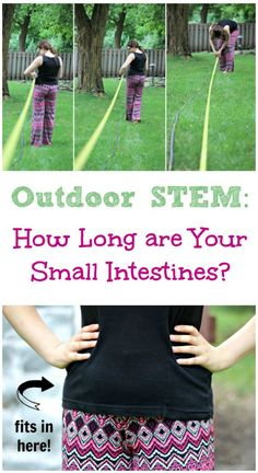 Use this super fun & easy outdoor science activity to show kids just how long their small intestines are and learn a little about the human body too!