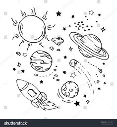 435c883f8c43c Stock vector of Vector Of Hand Draw Set Of Space Icon. Vector Art by  NYstudio from the collection iStock. Get affordable Vector Art at Thinkstock  Canada.