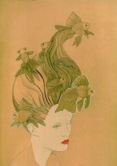Angela Keeler fish hair illustration