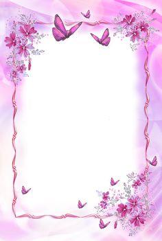Pink Transparent Frame with Butterflies Frame Border Design, Boarder Designs, Page Borders Design, Framed Wallpaper, Flower Background Wallpaper, Flower Backgrounds, Butterfly Frame, Flower Frame, Purple Butterfly