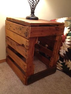 Pallet end table or nightstand.