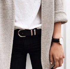 Thick knit & timeless timepiece. (15% off DW watch using GALAXIE15 danielwellington.com)