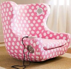 Pink white dotted recliner with outlets