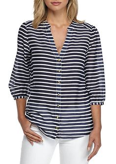 Add this classic, nautical-inspired striped blouse to your wardrobe for a chic and savvy look. Style it with crisp ankle length pants and trend-worthy sandals for a sharp and clever finish you'll love.
