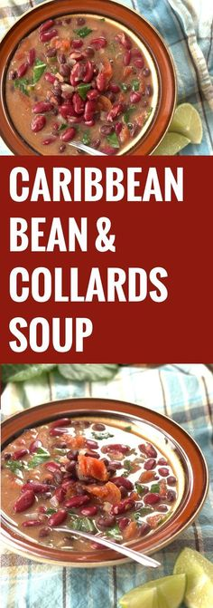 Caribbean Bean Soup with Collards for a warming winter get together