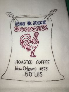 50 LBS COFFEE - NEW Hand embroidered 30 X 30 flour sack dish towel #Handembroideredwithallnewmaterials