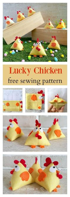 Quick & easy Chicken Pattern in Pyramid / Tetrahedron shape. Perfect to sew as ornament, pincushion, doorstop, bean bag, potpourri sachet & paper weight.