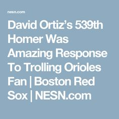 David Ortiz's 539th Homer Was Amazing Response To Trolling Orioles Fan   Boston Red Sox   NESN.com