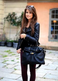 black black black leather jacket